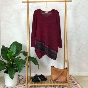 Soft Surroundings Raku Tunic Red Stripe Sweater